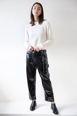 cropped carpenter pant, black