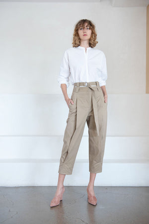 TIBI - double waisted sculpted pant, khaki