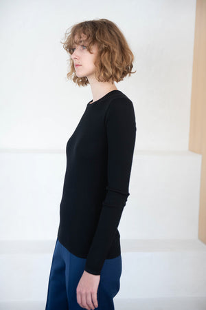 TIBI - ribbed crewneck pullover, black