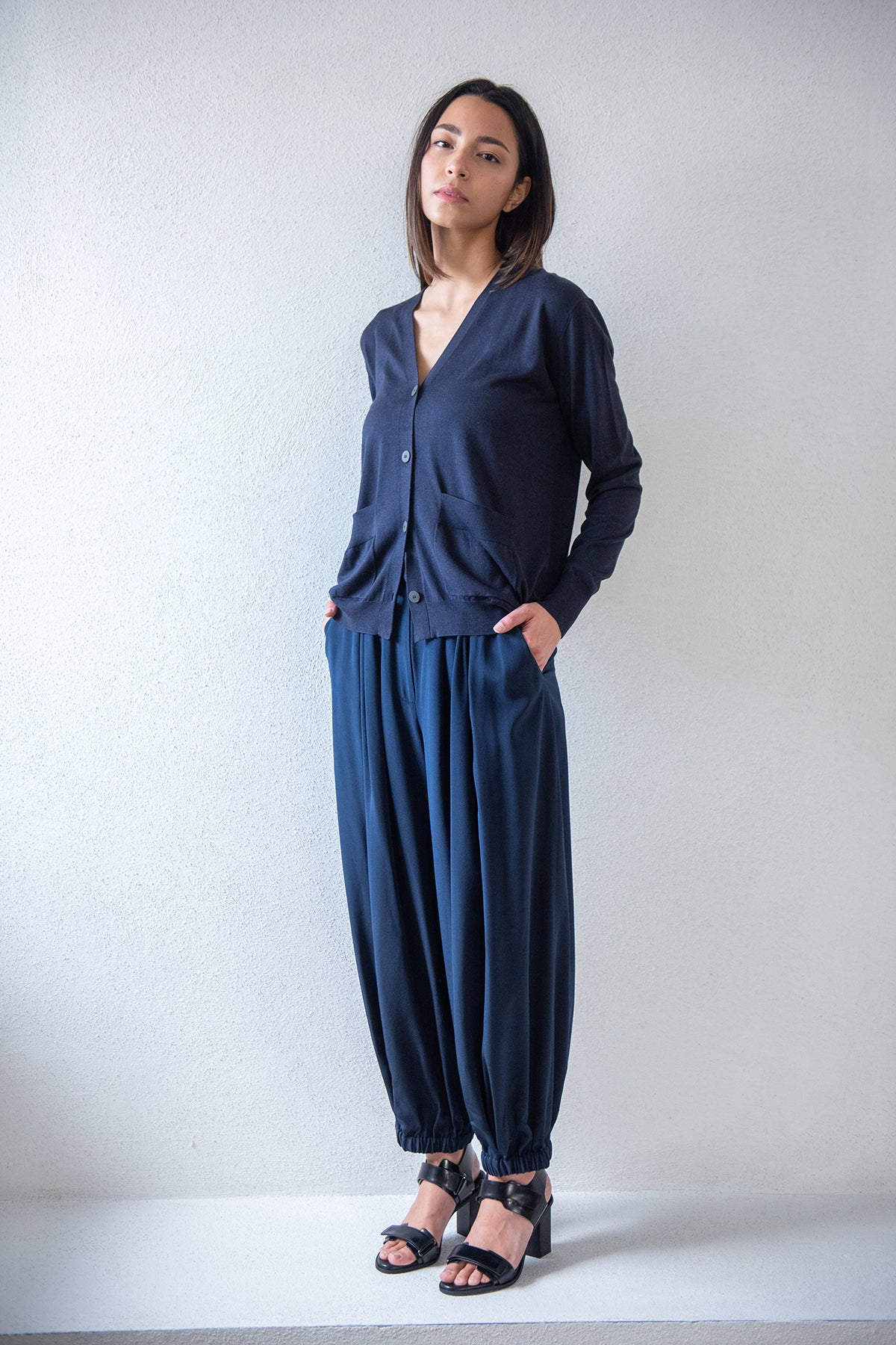 TIBI - silk pleated balloon pant, navy