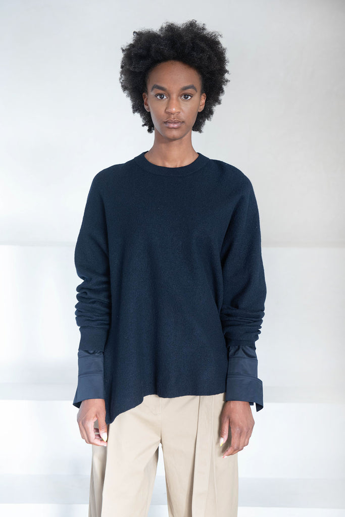 TIBI - wool sweater layered pullover, dark navy