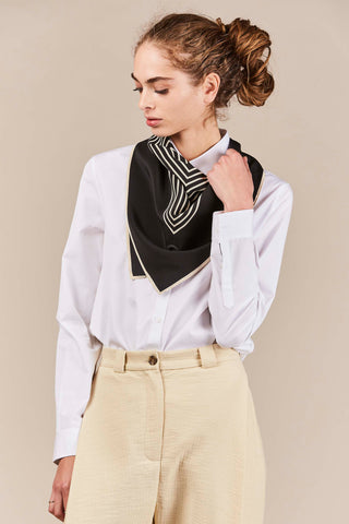 Venezia Larger Scarf, Black & Cream