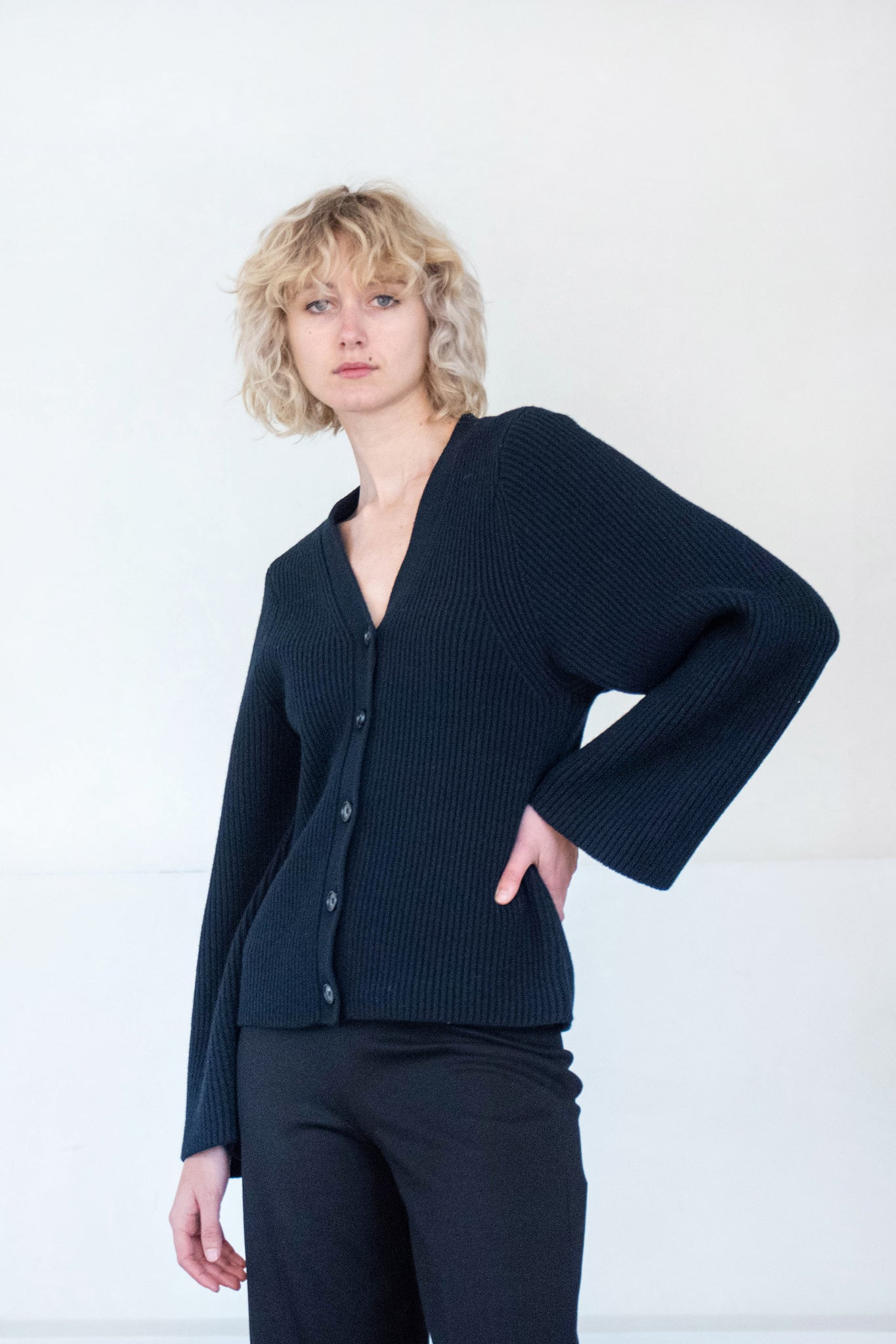 Totême - lambswool knit cardigan, black