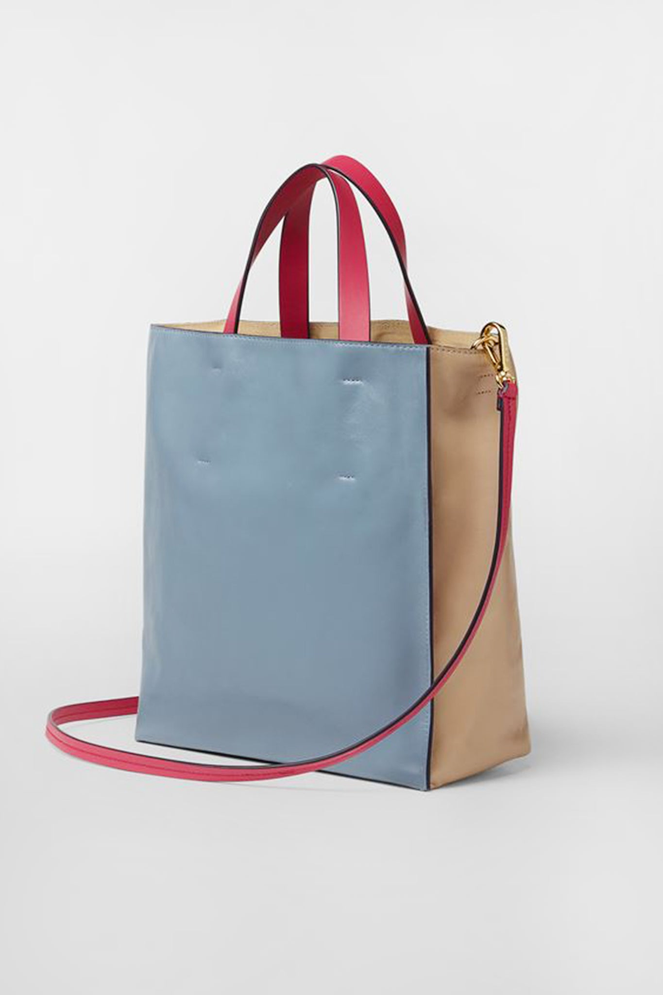 MARNI - small museo soft bag, beige and pale blue
