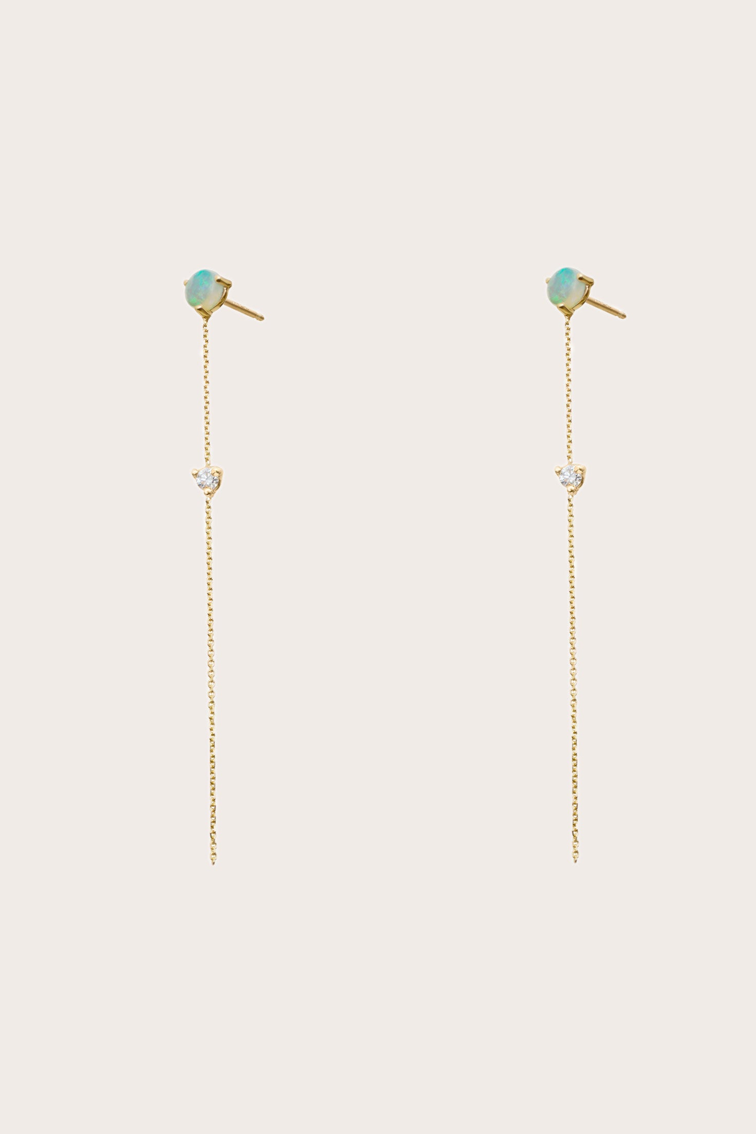 Wwake - Two-Stone Drop Earrings, Gold