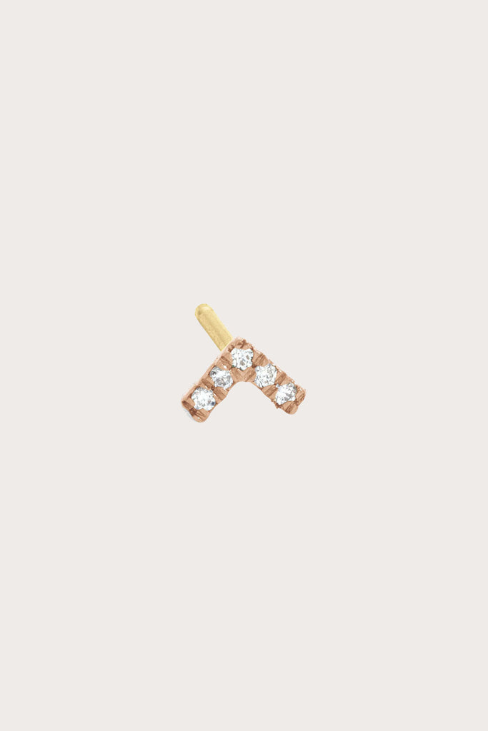 Vera Stud, White Diamond w/ Rose Gold