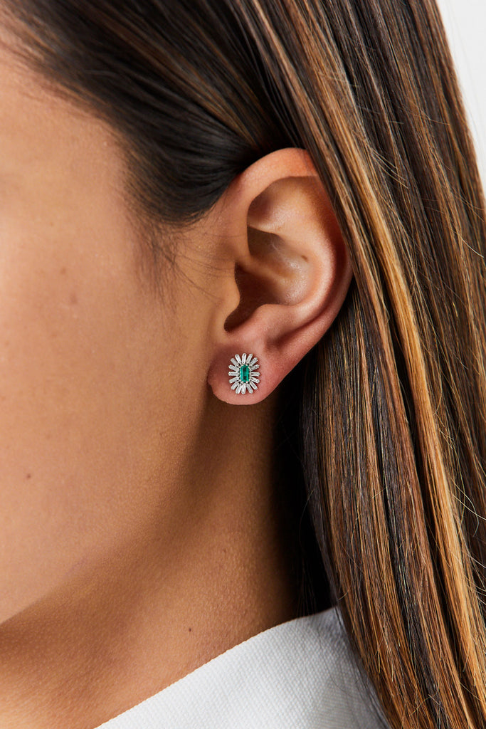 SUZANNE KALAN - White Diamond and Emerald Studs