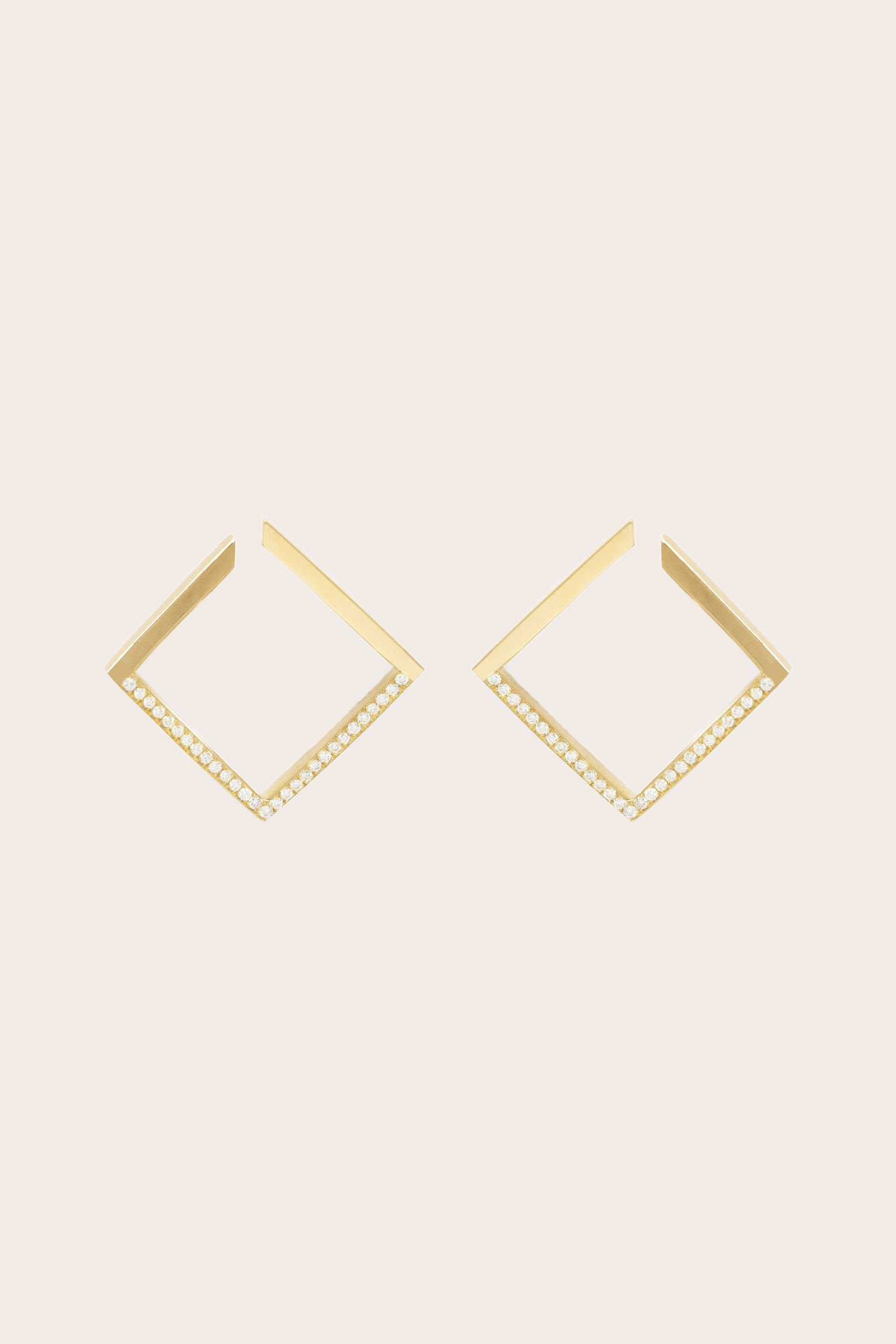 White Light 1/2 Pave Earrings, Gold