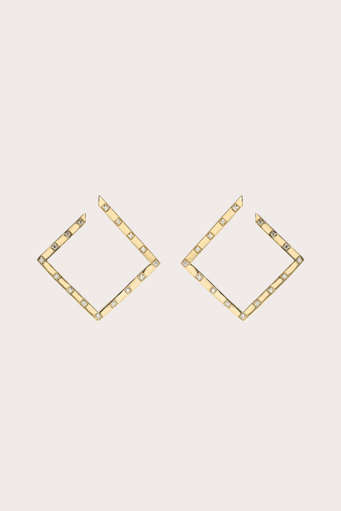 Azlee - White Light Scattered Pave Earrings, Gold