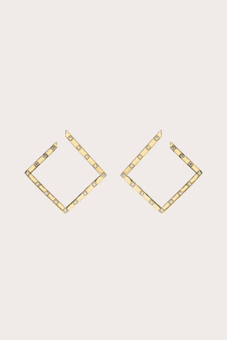 White Light Scattered Pave Earrings, Gold