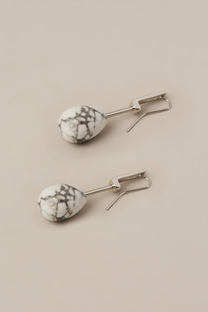 White Howlite Stone on Silver Earrings by Kluane