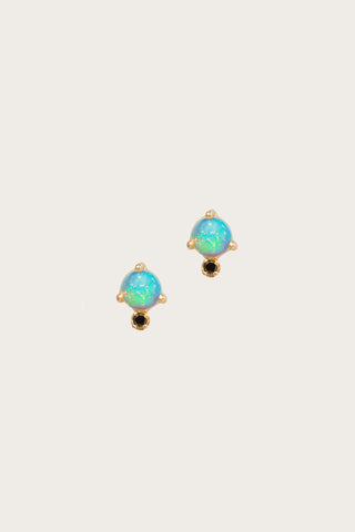 Classic Opal and Black Diamond Earrings