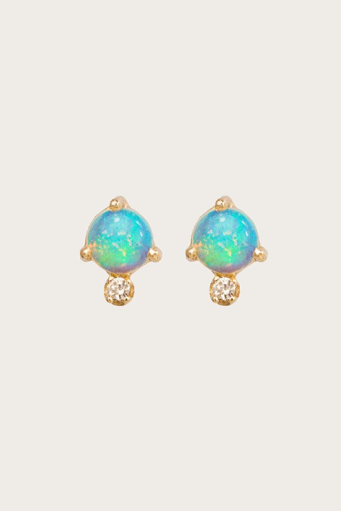 WWAKE - Classic Opal and White Diamond Earrings