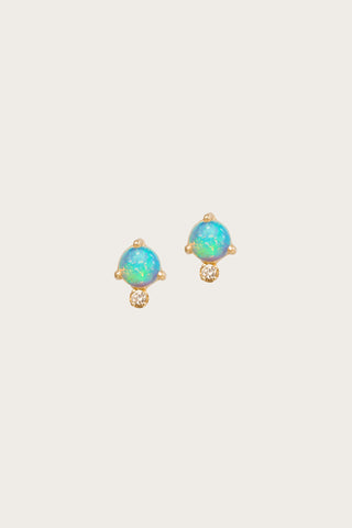 Classic Opal and White Diamond Earrings