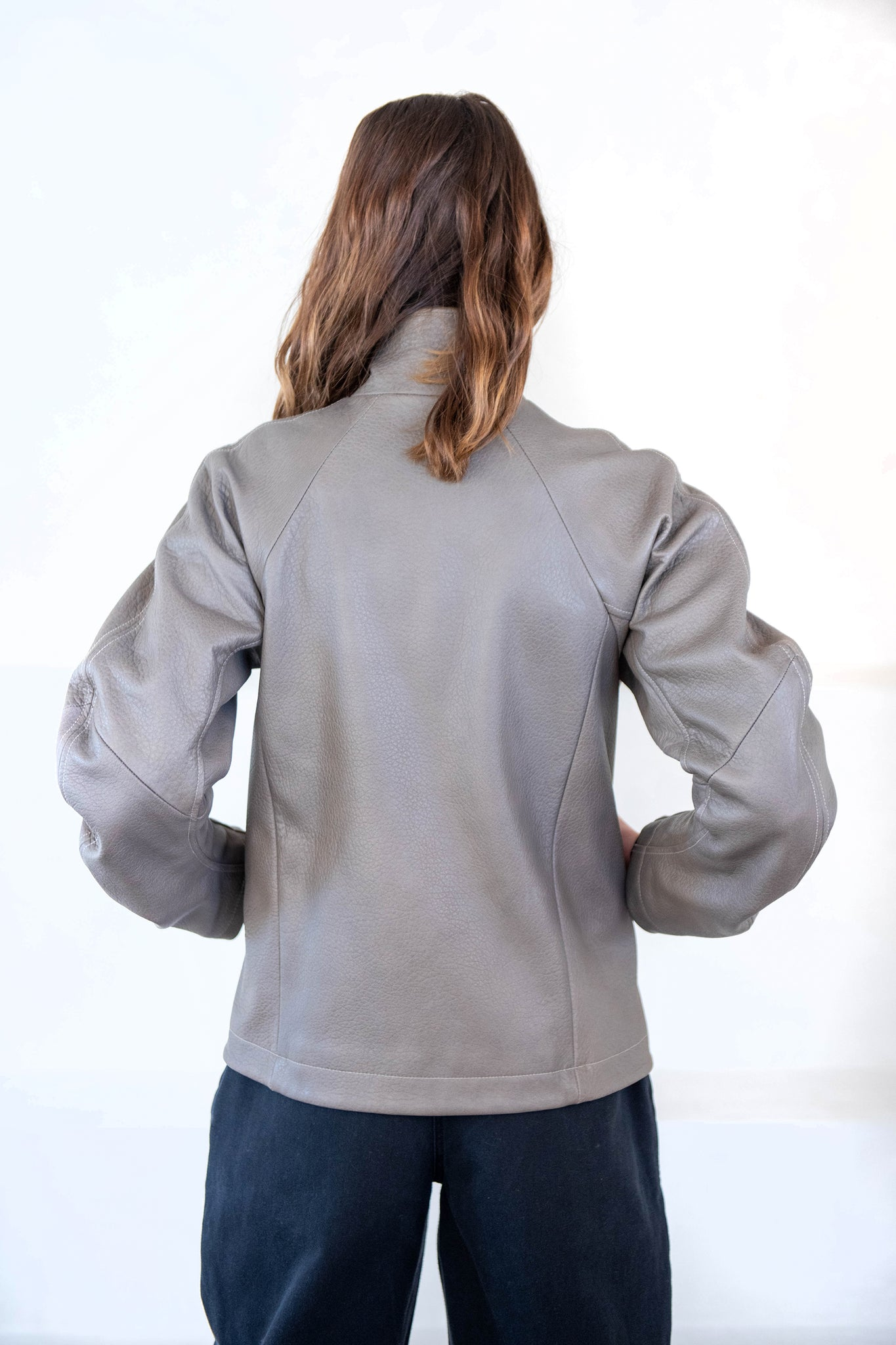 Zero + Maria Cornejo - leather cuadro jacket, grey