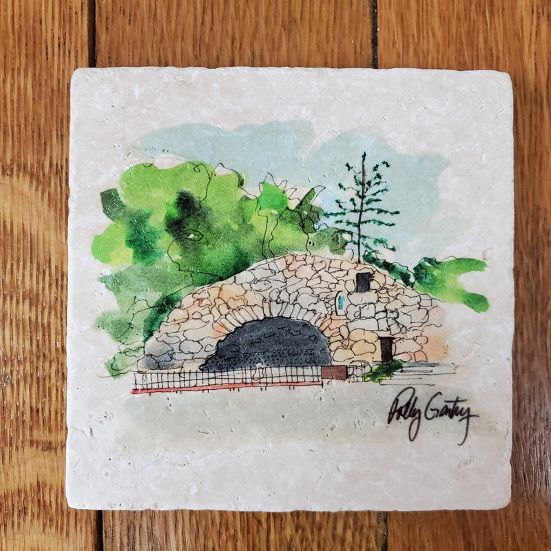 Notre Dame Grotto Polly Gentry Coaster