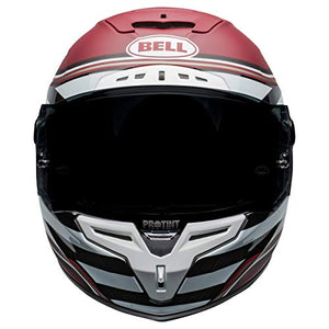 Bell Race Star DLX Full-Face Motorcycle Helmet (RSD The Zone Matte/Gloss White Candy Red, Medium) - MyBikeCo