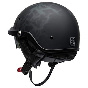 Bell Pit Boss Open-Face Motorcycle Helmet (Flames Matte Black/Gray, X-Large/XX-Large) - MyBikeCo