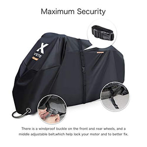 XYZCTEM Motorcycle Cover -Waterproof Outdoor Storage Bag,Made of Heavy Duty Material Fits up to 116 inch, Compatible with Harley Davison and All Motors(Black& Lockholes& Professional Windproo