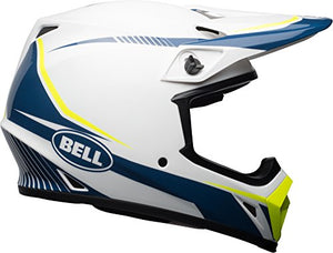 Bell MX-9 MIPS Off-Road Motorcycle Helmet (Gloss White/Blue/Yellow Torch, X-Large) - MyBikeCo