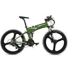 "Load image into Gallery viewer, LANKELEISI XT750 Cool 26"" Foldable Electric Mountain Bike, Adopt 36V 12.8Ah Hidden Lithium Battery, Speed 25~35km/h (Green, Standard) - MyBikeCo"