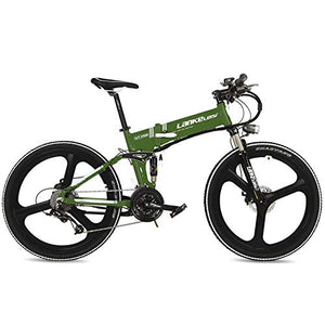 "LANKELEISI XT750 Cool 26"" Foldable Electric Mountain Bike, Adopt 36V 12.8Ah Hidden Lithium Battery, Speed 25~35km/h (Green, Standard) - MyBikeCo"