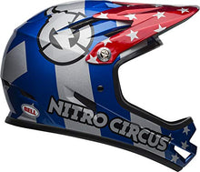 Load image into Gallery viewer, Bell Sanction Adult Full Face Bike Helmet (Nitro Circus Gloss Silver/Blue/Red (2019), Medium) - MyBikeCo