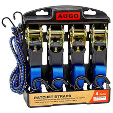 Load image into Gallery viewer, Ratchet Tie Down Straps - 4 Pk - 15 Ft- 500 Lbs Load Cap- 1500 Lb Break Strength- Cambuckle Alternative- Cargo Straps for Moving Appliances, Lawn Equipment, Motorcycle - Includes 2 Bungee Cor