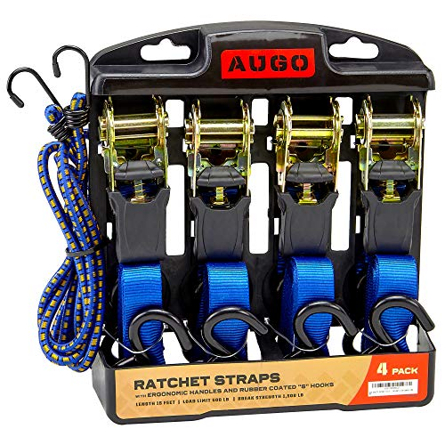 Ratchet Tie Down Straps - 4 Pk - 15 Ft- 500 Lbs Load Cap- 1500 Lb Break Strength- Cambuckle Alternative- Cargo Straps for Moving Appliances, Lawn Equipment, Motorcycle - Includes 2 Bungee Cor