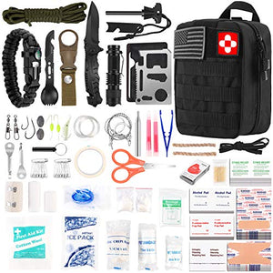216 Pcs Survival First Aid kit, Professional Survival Gear Equipment Tools First Aid Supplies for SOS Emergency Tactical Hiking Hunting Disaster Camping Adventures(Black) - MyBikeCo