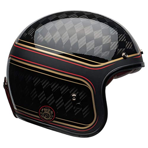 Bell Custom 500 Carbon Open-Face Motorcycle Helmet (RSD Checkmate Matte/Gloss Black/Gold, X-Large) - MyBikeCo