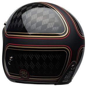 Bell Custom 500 Carbon Open-Face Motorcycle Helmet (RSD Checkmate Matte/Gloss Black/Gold, Large) - MyBikeCo