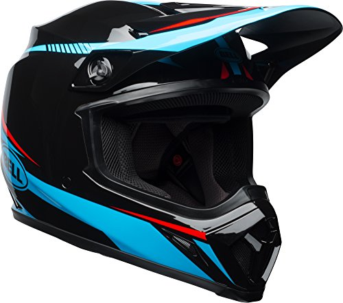 Bell MX-9 MIPS Off-Road Motorcycle Helmet (Gloss Black/Cyan/Red Torch, X-Large) - MyBikeCo