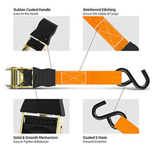 Load image into Gallery viewer, Ratchet Tie Down Strap 8-Pack 15 Ft - 500 lbs Load Cap with 1500 lbs Breaking Limit, Ohuhu Ratchet Tie Downs Logistic Cargo Straps for Moving Appliances, Motorcycle, Orange - MyBikeCo