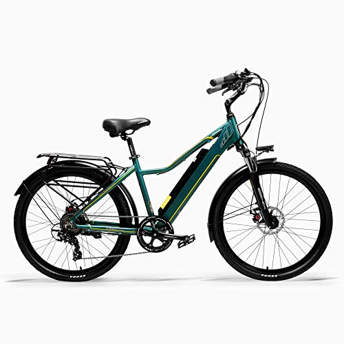 LANKELEISI Pard3.0 26 Inch Electric bicycle, 300W City Bike, Oil Spring Suspension Fork, Pedal Assist Bicycle, Long Endurance (Green, 15Ah + 1 Spare Battery) - MyBikeCo