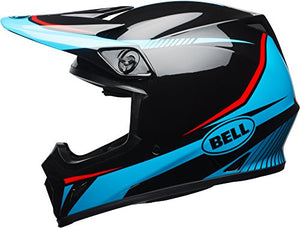Bell MX-9 MIPS Off-Road Motorcycle Helmet (Gloss Black/Cyan/Red Torch, XX-Large) - MyBikeCo
