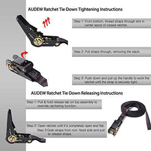 Load image into Gallery viewer, Audew Ratchet Straps (4 Pack) 15Ft Heavy Duty Tie Down Strap 2800 Break Strength Cargo Tie Down Straps With Rubber Coated Handles & S Hooks + Soft Loop For Truck, Motorcycle, Kayak Accessorie