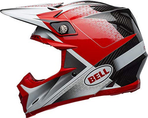 Bell Moto-9 Flex Off-Road Motorcycle Helmet (Hound Matte/Gloss Red/White/Black, Medium) - MyBikeCo