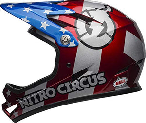Bell Sanction Adult Full Face Bike Helmet (Nitro Circus Gloss Silver/Blue/Red (2019), Medium) - MyBikeCo