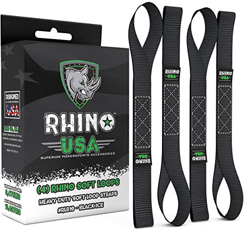 "RHINO USA Soft Loops Motorcycle Tie Down Straps (4pk) - 10,427lb Max Break Strength 1.7"" x 17"" Heavy Duty Tie Downs for use with Ratchet Strap - Secure Trailering of Motorcycles, Kayak, J"
