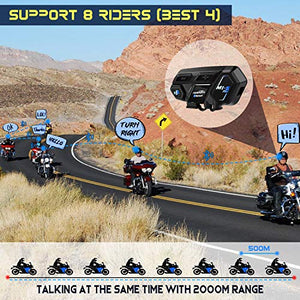 Motorcycle Bluetooth Intercom, Fodsports M1S Pro 2000m 8 Riders Group - MyBikeCo