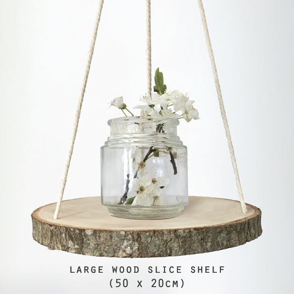 Large Natural Wood Slice Shelf With Rope Hoops