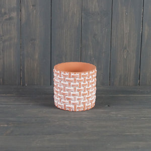 Terracotta Basket Weave Pot - Medium