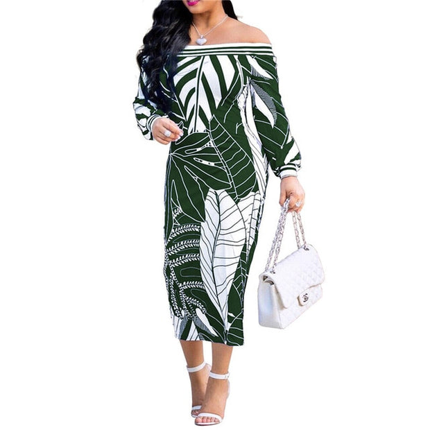 Banana leaf Print Long Dress