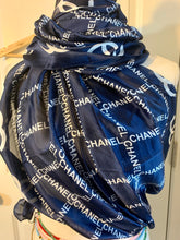 Load image into Gallery viewer, Blue silken C logo print scarf