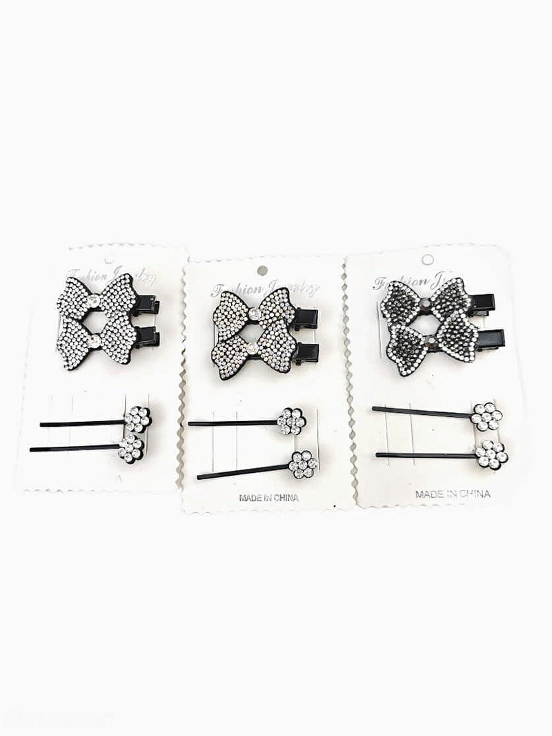 LOT DE 12 - Barrettes motif noeud strass    0,75€/unité | Grossiste-pro