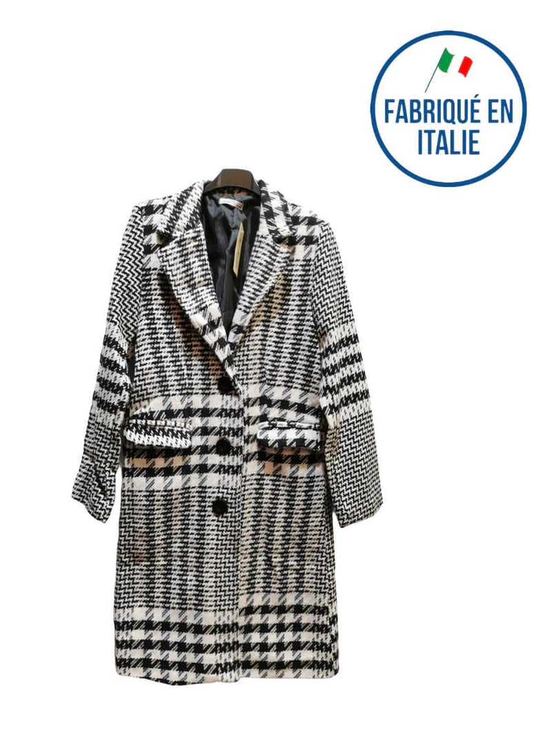 LOT DE 3 - manteau trench long motif carreaux 70% coton 26,90€/unité | Grossiste-pro