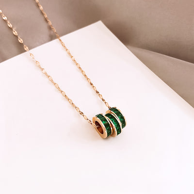 Necklace with Green Pendants