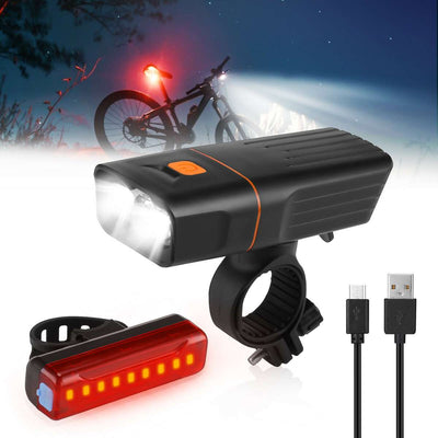 USB Rechargeable Bike Light Set