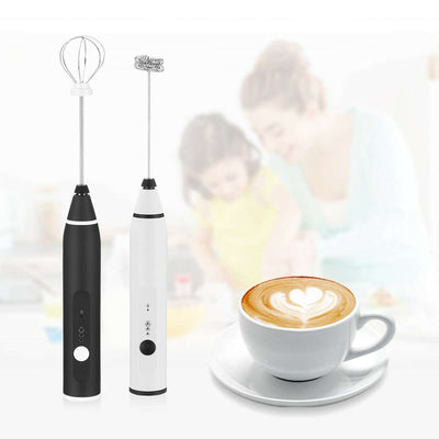 Electric Milk Frother Beater with 2 Attachments